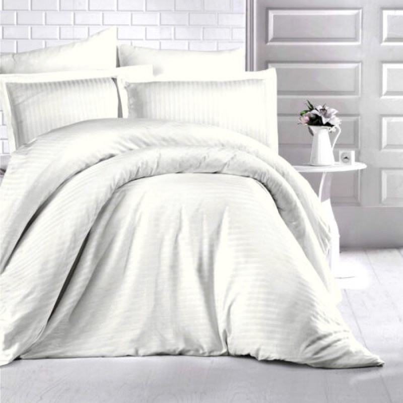 Lenjerie de pat damasc HORECA (GROS) - CREM O persoană